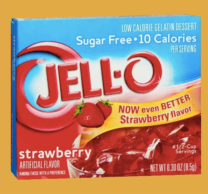 a box of Sugare Free Strawberry Jello