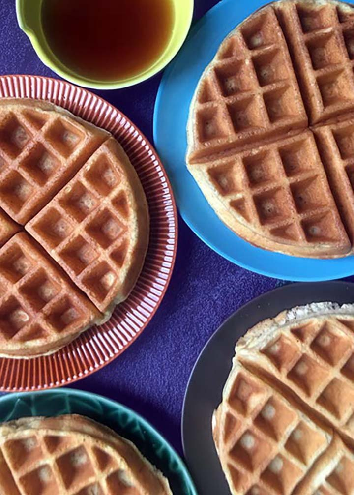 a top down view of 4 Keto waffles