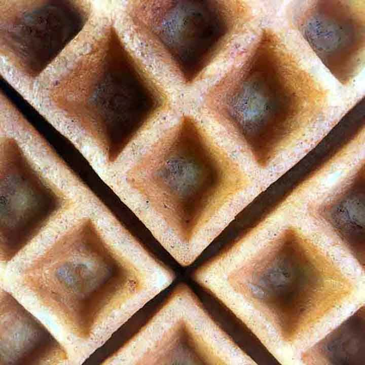 a close up of a sugar free waffle