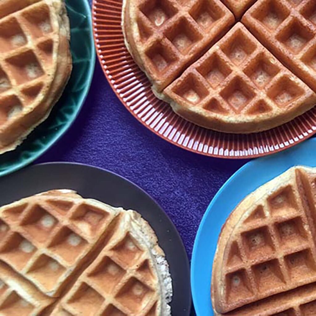 a top down view of low carb waffles