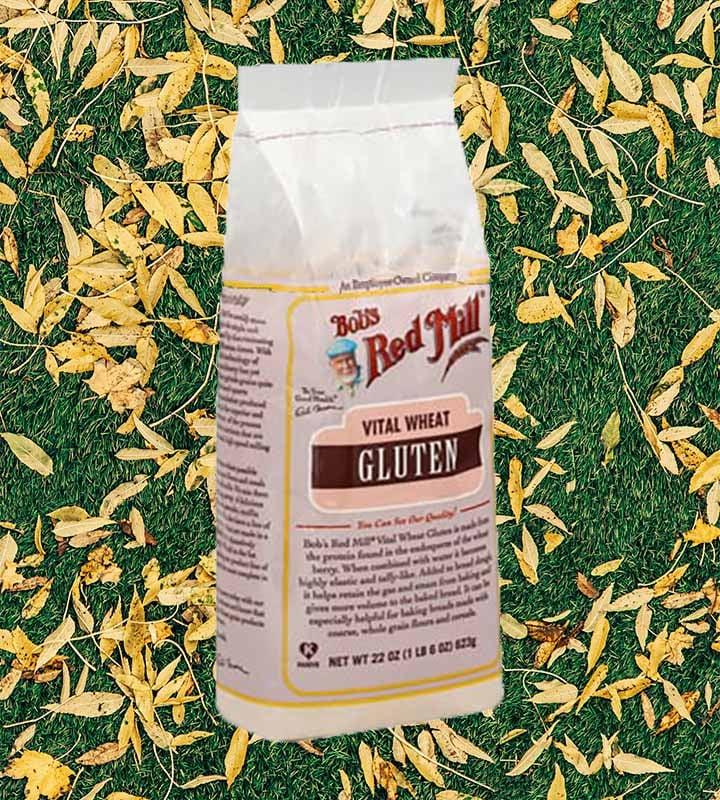 a bag of vital wheat gluten agains a leafy background