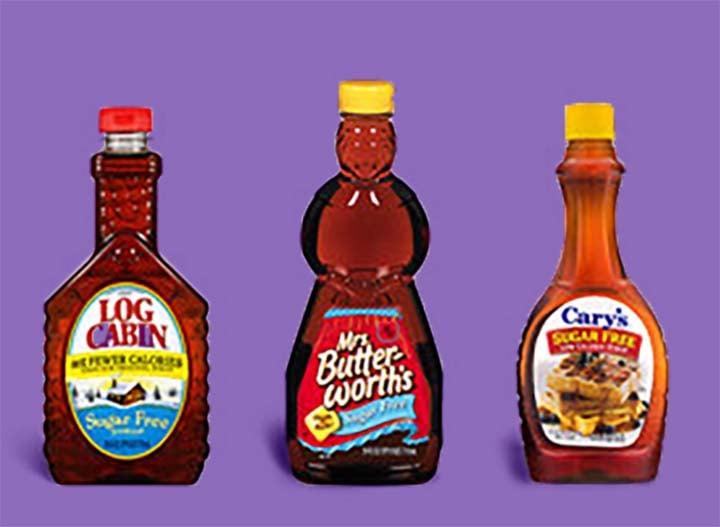 three bottles of sugar-free syrup